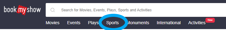 bookmyshow select sports